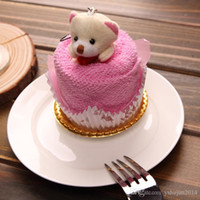 birthday cake towels Australia - 2016 New Lovely Teddy Bear Cake Towel 30*30cm mini towel Wedding Christmas Valentines birthday gifts Baby shower favors gift souvenirs