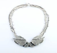 Wholesale Peace Wings Pendant - Wholesale-Crystal Flower Choker Fashion Necklace Women Exaggerate resin luxury Chunky peace wings Statement necklaces & pendants!