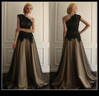 Wholesale Black Gray Wedding Gowns - Elegnat Gray Black Lace Evening Dresses 2015 One Shoulder A Line Floor Length Women Dress Prom Formal Wedding Party Gown Mother Of Bride
