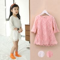 Wholesale Tutu Dress Colours - 2015 Spring Big Children's new Korean high quality Girl Children sleeve lace Princess Dress White Pink 2 Colours C001