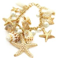 Wholesale Wholesale Conch Pearl - Women Girls Trendy Starfish Shell Conch Pearl Gold Chain Bracelet Bangle Gift