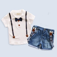 Wholesale Denim Shirt Boy - New Baby Boys Clothing Sets short Sleeve T-shirt+denim shorts kids 2pcs clothes sets Children Boy Formal Suit Bow Tie fashion outfits