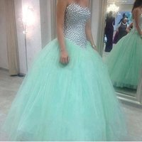 Wholesale coral grade - Mint Green Sweetheart Crystals Ball Gowns Quinceanera Dress Tulle Style Sweet 16 Dresses For Girl 8th Grade 2016