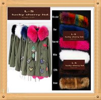 Wholesale Military Jacket Wool Woman - New winter 4color leader of the large green wool coat with fox rabbit real fur coat winter jacket parka women Military coat