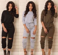 Wholesale Sexy Elastic Jumpsuits - Wholesale-New Women bodycon jumpsuit Long sleeve for women jumpsuits sexy club ladies rompers bandage Elastic waistband macacao feminino