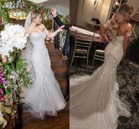 vestido de noiva sparkly tulle sereia venda por atacado-Sparkly Sereia Mangas Curtas Vestidos de Casamento Querida Cristal Frisado Tule Backless Vestidos de Casamento Sexy Plus Size Vestidos de Noiva