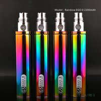 Wholesale E Cig Atomizer Mt3 - Rainbow EGO II 2200mah battery GS Ego II Battery Huge Capacity KGO ONE WEEK EGO T Battery for CE4 MT3 Evod T3S E Cig Vaporizer Atomizer