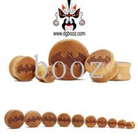 Wholesale Batman Tunnels - Wholesale batman logo wood saddle ear stretchers plugs flesh tunnels piercing Body Jewelry 10-28mm