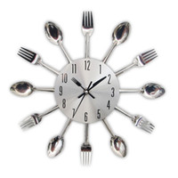 Wholesale New Design Wall Clock - New Fashion Modern Kitchen Wall Clock Sliver Cutlery Clocks Spoon Fork Creative Wall Stickers Mechanism Design Home Decorations