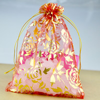 Wholesale Luxury Gift Christmas Bag - Multi Colors Rose Organza Bags 4 size Luxury Wedding Voile Gift Bag Drawstring Jewelry Packaging Christmas Gift Pouches SK612