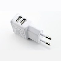 Wholesale mobile homes supplies - 5V 2A Portable Dual Port USB Travel Home Wall Charger EU Plug Mobile Phone USB Power Supply Adapter For Samsung Iphone