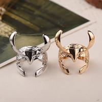 Wholesale Helmet Punk - Thor Dark World Loki helmet ring jewelry adjustable free size opend punk rings men women silver gold plated zinc alloy ring