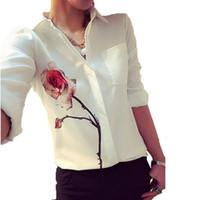 ingrosso blusas xxl-S-XXL Blusas manica lunga donna stampa floreale camicetta OL estate primavera donna camicie in chiffon Top