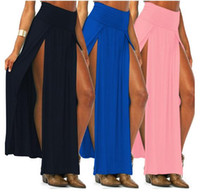 Wholesale Maxi Skirt Side Split - Novelty Skirt Sexy Women Long Skirts Lady Open Side Split Skirt high waist Long Maxi Skirt