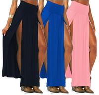 açık kenarlı uzun etek toptan satış-Yenilik Etek Seksi Kadınlar Uzun Etekler Lady Açık Yan Bölünmüş Etek yüksek bel Uzun Maxi Etek
