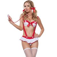 Wholesale White Nurse Sexy Lingerie - Christmas gift 2017 New sexy nurse cosplay lingerie Red and white hottest uniform temptation braces sexy babydoll erotic sexy costumes