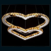 Wholesale Double Heart Cord - LED Pendant Lighting Chandelier Light Transparent OR Amber K9 Crystal Double Heart-shaped Ceiling Lamps Lights