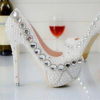 Wholesale Kvoll Heels - HOT Woman's Kvoll Nightclub Sexy High heels Single Shoes High Quality Women Imitation Pearl Wedding Dress Shoes