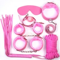 Wholesale Sexy Collar Bondage - Adult Sexy toys alternative toys package 8 sets sex toys for women Bondage toys foot whip hand-cuffs blindfold collar cotton rope ball mouth