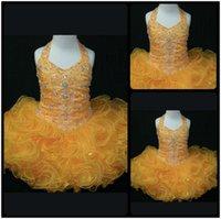 Wholesale Cheap Cute Puffy Dress - Sweet Cute Yellow Halter Neck Kids Glitz Girl's Pageant Dress Beaded Ruffles Organza Ball Gown Puffy Kids Formal Wear Cheap Pageant Dresses