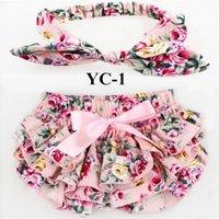 Wholesale Tutus Bebe - 10sets  Lot Bloomers Sets ,Cotton Fabric Bow Headbands Set ,Diaper Covered Tutu Ruffled Panties Shorts Culottes Bebe Fashion Headwear