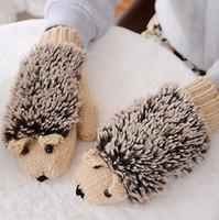 Wholesale Warm Villus - Winter Gloves for Women Knit Warm Fitness Gloves Hedgehog Heated Villus Mittens 9 Colors Novelty Cartoon hedgehog gloves Outdoor Gifts