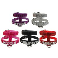Wholesale Dog Collar Leather Harness - (5 colors ) Bling Personalized Name Pu Leather Dog Harness 10mm Slider for Rhinestone Letters And Charm