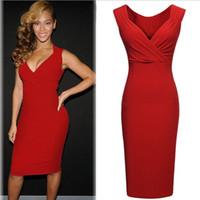 ropa de fiesta roja para mujer al por mayor-Ropa de mujer, señoras, entallado, elástico delgado, rojo sexy, Beyonce, con cuello en V, lápiz ajustado, vestido de cambio formal, fiesta de cóctel, fiesta de noche, vestido 7841