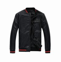 Wholesale Short Sleeve Leather Motorcycle Jacket - New - fashion trend of the tide of the young motorcycle PU jacket short spring pure color leather jacket Men Medusa-M-3XL