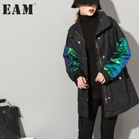 Wholesale Plus Size Sequin Cardigan - Wholesale- [EAM] 2017 summer wild stitching sequin long-sleeved stand collar ladies plus size in long cardigan jacket AS20011