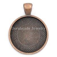 Wholesale Antique Copper Round Pendants Cabochon - Free Shipping! Charm Pendants Round Antique Copper Cabochon Setting(Fits 25mm Dia) 3.6x2.8cm,10PCs (B23855)