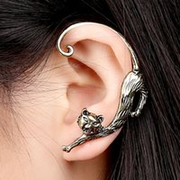 Wholesale Gothic Punk Ear Cuffs - HOT SALE Long Tail Leopard Animal Puncture Earring Women's Men's Nice Cool Punk Gothic Alloy Cat Pussy Ear Cuff Stud Earring