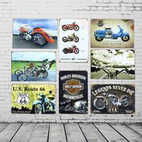 Wholesale Motorcycle Paint Wholesale - 8Pcs Set Wholesale Vintage motorcycle poster Tin sign Retro Metal Painting Cafe Garage Bar Home decoration Wall Art Picture Decor