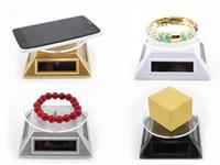 ingrosso supporto da tavolo mobile-Vetrina luminosa per vacanze Solar 360 ° girevole Display Stand Rotary Auto Turn tavolo piatto vetrina per gioielli mobili