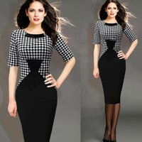 Wholesale Ladies Tunic Free Shipping - 2016 New Fashion Career Ladies Women Patchwork Knee-length OL Style Pinup Tunic Wear To Work Business Party Pencil Sheath Dress Free Ship