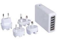 Wholesale Multiple Chargers - Multiple Plug 6-female USB Wall Charger Travel Charger (White)