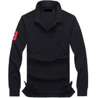 ingrosso uomo più le camice di polo di formato-plus size 19 colori Polo Shirt Uomo tinta unita Casual Polo Spedizione gratuita manica lunga camicia da uomo in cotone ricamo camicia casual