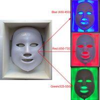 красота лицо привело световой терапии оптовых-новый светодиодный маска для лица Уход за кожей лица светодиодный свет терапия светодиодные Фотон лица PDT маска омоложения кожи терапия красоты 3 цвета огни