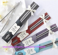 Wholesale Chinese Wedding Chopsticks - 100Pairs lot 200pcs East Meets West Stainless steel chopsticks Chinese style wedding Wedding   Function favors gifts DHL FEDEX Free shipping