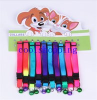 Wholesale Wholesale Rainbow Dog Collars - Rainbow Dog Cat Bell Collar Adjustable Outdoor Comfortable Pet Collars For Small Dogs Puppies Pets Collars