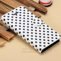 Wholesale Iphone Polka Dots Flip - Luxury Polka Dot PU Leather Case For iPhone 5c Flip Wallet Stand Case Card Holders YXF02545