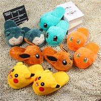 Donna Anime Cartoon Slippers Lovers Warm Pantofole Donna Elf Ball Pikachu Go Peluche Scarpe casa Pantofole per bambini
