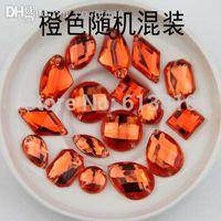 Wholesale Orange Sew Stones - Wholesale-mixed size 100PCS Orange Color Superior Taiwan Acrylic Flat Back Stones mix Shape Acrylic Rhinestone Sew On 2 Holes gems DIY