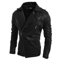 Wholesale Korean Slim Leather Jacket - Hot Korean Brand Fashion Men PU Zipper Faux Leather Coat Punk Long Sleeve Motorcycle Jackets Free shipping
