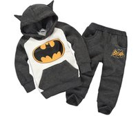 Wholesale Cotton Batting Wholesale - Babys Outfit Cartoon Bat Hooded Jacket+Pants 2pcs 5 Sizes 2-8Y Long Sleeve Outfits Sets Baby & Kids Clothing for autumn and winter