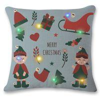 kissen leuchten großhandel-Neue Design Weihnachten Blinkende Kissenbezug 45 * 45 cm LED-Licht Kissen Kissenbezug Leuchten Kissenbezug Autosofa Weihnachtsdekoration