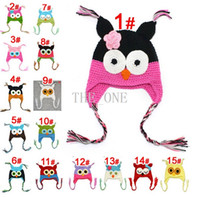 Wholesale crochet animals free online - toddler owl hats multicolor infant toddler handmade knitted crochet baby hat cap with ear flaps baby baby crochet animal hat