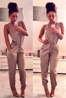 Wholesale Khaki Jumpsuits - 2015 New Nightclubs fashion Casual sleeveles long pants women Jumpsuits Rompers khaki