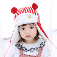 2017 winter kinder hut winter warm plus samt baby ohrmütze gestreiften stickerei baby crown Lei Feng hut