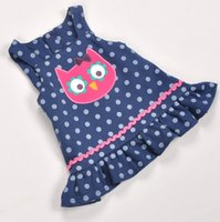 Wholesale owl dress blue - Summer baby girls dresses owl pattern dress cotton polka dots clothing for year baby p l